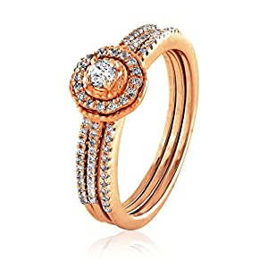 0.34 CT. Natural White Diamond Bridal Collection 18K Rose Gold Wedding Ring Set With Band (G-H, I2-I3)