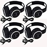 Four Pack of Two Channel Folding Adjustable Universal Rear Entertainment System Infrared Headphones With 4 Additional 48 3.5mm Auxiliary Cords Wireless IR DVD Player Head Phones for in Car TV Video Audio Listening