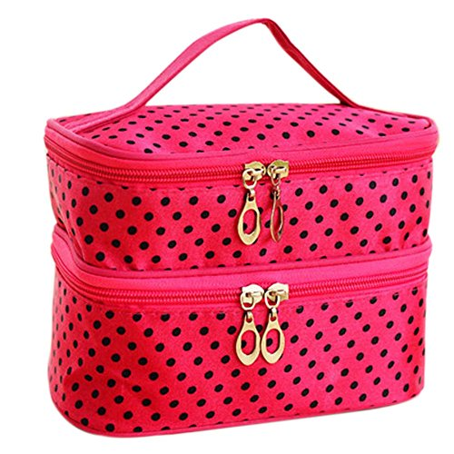 Valink Double-deck Travel Toiletry Beauty Cosmetic Bag Makeup Case Organizer Handbag (Rose Red)