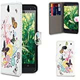 32nd® Design book wallet PU leather case cover for HTC One M7 + screen protector and cleaning cloth - Colour Butterfly