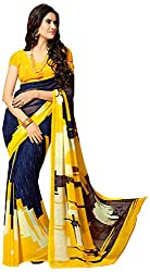 Lizel Fashion Women's Georgette Saree (Unique Yellow , Yellow, Black.)