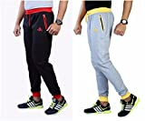 Men's Cotton Track Pants with Zipper Pockets Pack OF 2 (Blackred_Melangegreyyellow, 28)