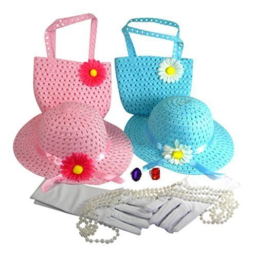 Girls Tea Party Dress Up Play Set For 2 with Sun Hats Purses