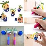 DDU(TM) 5Pcs Random Color- Cute Face Egg Bean Retractable Keychain Writing Ballpoint Ball Pen