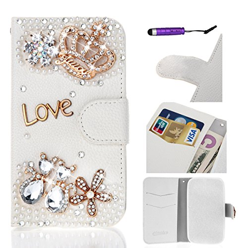 Flip Cover per Apple iPhone 6 Plus / iPhone 6S Plus, Moonmini® Custodia Wallet a Portafoglio Libro in PU Pelle con 3D Brillantini Diamante Glitter, Stand, Slot & Chiusura Magnetica