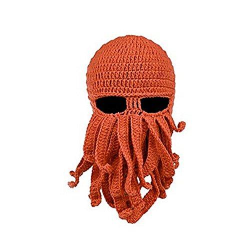 Herebuy8 Octopus Winter Warm Knitted Wool Ski Face Mask Knit Beard Squid Beanie Hat Cap (Orange)