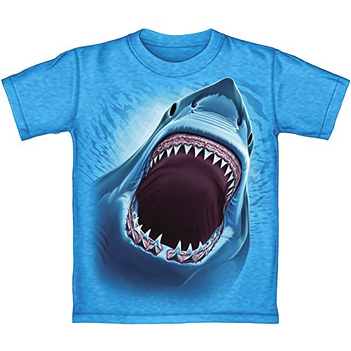 Great White Shark Turquoise Heathered Youth Tee Shirt (Kids Large) (Shark Tees compare prices)