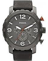 Fossil - JR1419 - Montre Homme - Quartz Analogique - Chronomètre - Bracelet Cuir Gris