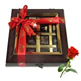 Decadent Flavors In A Beautiful Wooden Box With Red Rose - Chocholik Belgium Chocolates