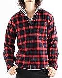 チェック柄ネルシャツ チェックシャツ 長袖 オンブレ メンズ カジュアル Mサイズ 7レッド