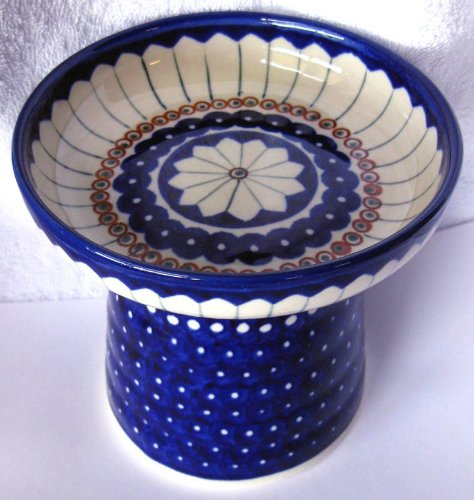 Polish Pottery Raised Food Dish or Water Bowl - Pinwheel