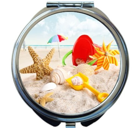 Rikki Knighttm Beach Toys On Beach Design Round Compact Mirror front-558272