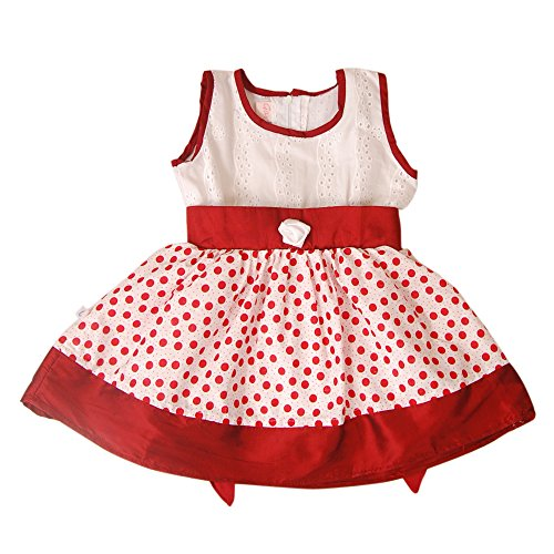 Sagy 'N' RUv Girls' Cotton A-Line Sleeveless Frock (7316-E_Red_4-5 years)