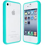 Apple iPhone 4S 4G Turquoise Gel Bumper PC Hard Frosted Back Case Cover-(CooltechStuff)