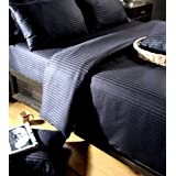 Egyptian Cotton Black Satin Stripe Duvet Cover and Pillowcase Set 330 Thread Count