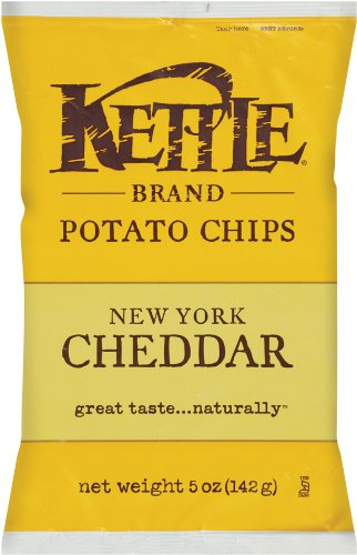 Kettle Brand Potato Chips, New York Cheddar, 5-Ounce Bags (Pack of 15)