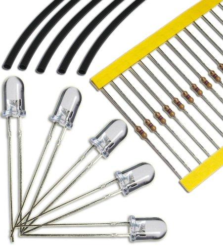 20 Stück LEDs wasserklar BLAU mit 12.000 mcd 5mm – wasserklares Gehäuse – ausgewählte Qualität – 5