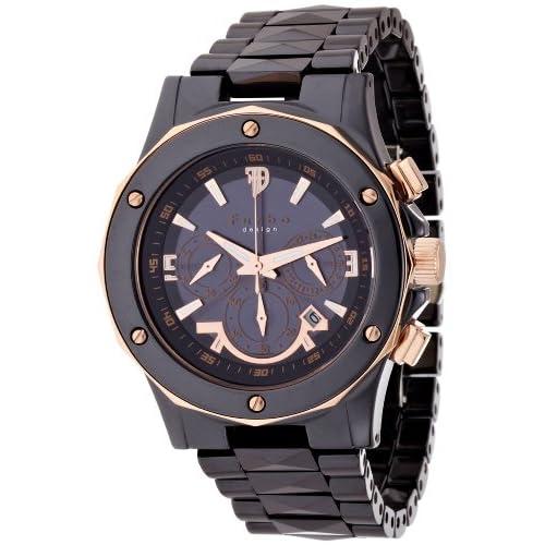 [フルボデザイン]Furbo Design Ilsole 腕時計 FS302 ソーラークォーツ クロノグラフ 5気圧防水 ブラックセラミック ブラック×ピンクゴールド メンズ FS302CPG メンズ