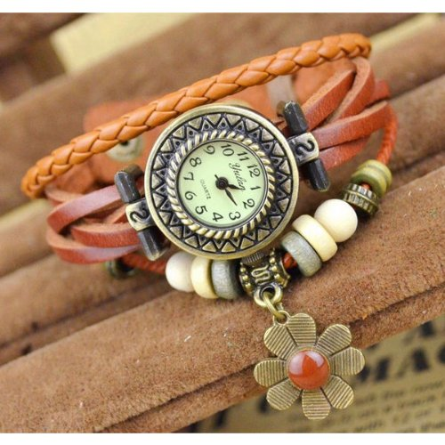 Sany58520 Vintage Bracelet Women Wrist Watch Weave Wrap Around Leather Band front-636252