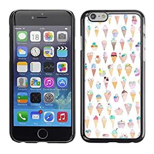 Omega Covers - Snap on Hard Back Case Cover Shell FOR Apple Iphone 6 Plus / 6S Plus ( 5.5 ) - Cream Cone Pattern Happy Funny