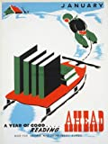 ILLINOIS USA LIBRARY READING BOOK SNOW SLEDGE VINTAGE ADVERTISING POSTER 2026PY