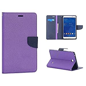 "SCHOFIC Premium Fancy Wallet Diary Faux Leather Tablet Flip Case Cover [Pouch] with Card Slots [POCKETS] , Stand View and Magnetic Strap [LOCKING] for Samsung GALAXY TAB 4 7"" T230 T231 -Purple"