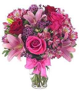 Flower Delivery (FREE Vase) – Rose & Lily Celebration – Flowers