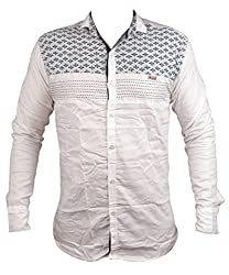 Zedx casual long sleeve printed single cuff WHITE apple cut shirt for Men's