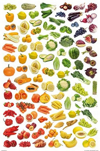 Posters: Cuisine Poster - Rainbow Collection Of Fruit And Vegetables (36 X 24 Inches) front-216227