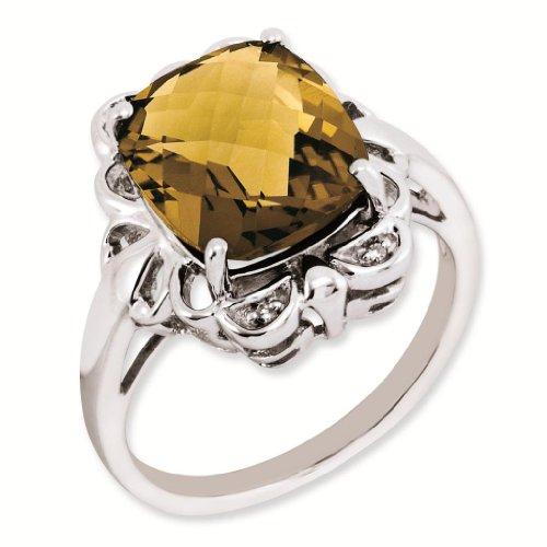 Sterling Silver Genuine Whiskey Quartz & Diamond Ring