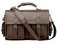Vicenzo Monet Messenger Briefcase Leather Bag, Full Grain Leather