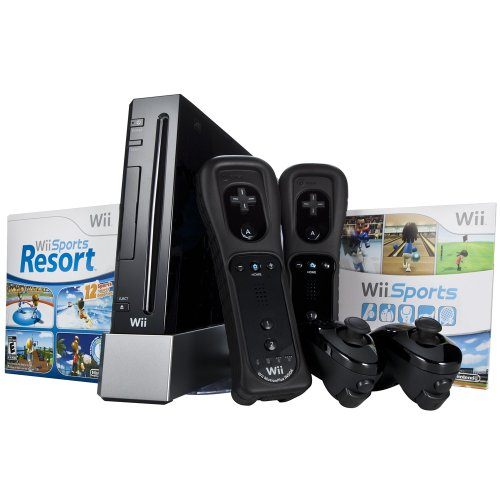 Nintendo Wii Console – Black – Starter Bundle, includes extra Wii Remote Plus and Nunchuk (Nintendo Wii)