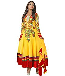 Orange Fab Women's Anarkali Suit Dress Material