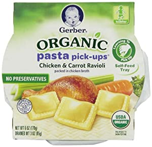 Gerber Organic Pasta Picks Ups Carrot Ravioli, Chicken, 6 Ounce, 8 Count