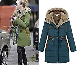 Winter Women Heavy Warm Padded Fleece Windbreaker Long Coat Top XS S M L