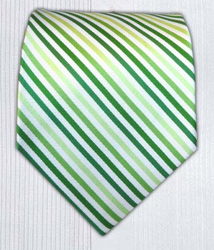 100% Silk Woven Green Striped Tie
