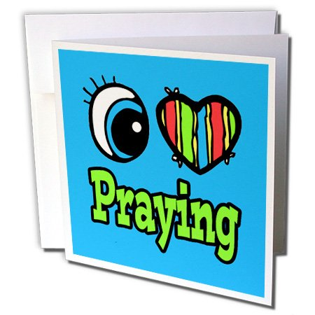 Dooni Designs Eye Heart I Love Designs - Bright Eye Heart I Love Praying - 1 Greeting Card with envelope (gc_106430_5)