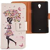 Lankashi PU Flip Leder Tasche H�lle Case Cover Schutz Handy Etui Skin F�r Sony Xperia T Lt30P Umbrella Girl Design
