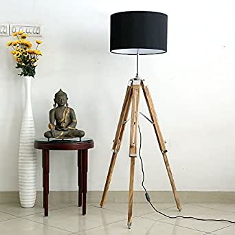 Craftter Handcrafted Black Shade Dark Brown Natural Finish Wooden Tripod Floor Lamp