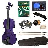 Cecilio 4/4CVN-Purple+SR+92D+FB1 Ebony Fitted Solid Wood Dark Purple Violin +Tuner, Bows, Shoulder Rest, Lesson Book+DVD (Full Size) - Dark Purple