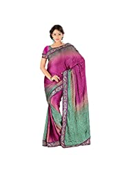 Ruddhi Satin Silk Turquoise And Purple Color Saree Sari Sarees