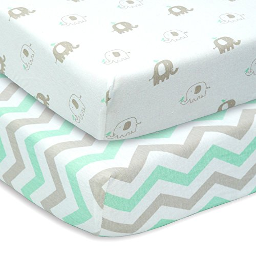 CUDDLY CUBS Set of 2 Jersey Cotton Fitted Crib Sheets in Gray and Mint with Chevron & Elephants - TOP QUALITY Nursery Bedding for Boy or Girl, Ideal Baby Shower Gift (Jersey Crib Sheet compare prices)