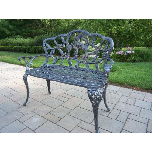 Oakland Living Hummingbird Cast Aluminum Loveseat Bench, Antique Pewter