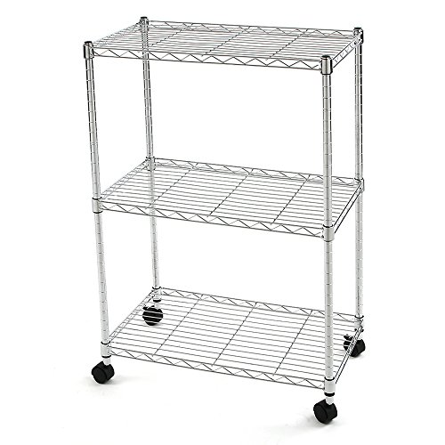 Finnhomy 3 Tier Heavy Duty Wire Rack Shelving with Wheels,Metal Adjustable Rolling Shelving Unit,Thicken Steel Tube Chrome