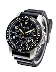 Trintec Zulu-01 Chronograph with Black Bezel and Stainless Steel Case ZULU-01-CH-S