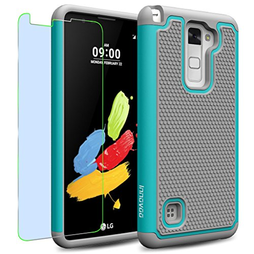 LG Stylus 2 / LS775 / K520 Case, INNOVAA Smart Grid Defender Armor Case W/ Free Screen Protector & Touch Screen Stylus Pen - Grey/Teal