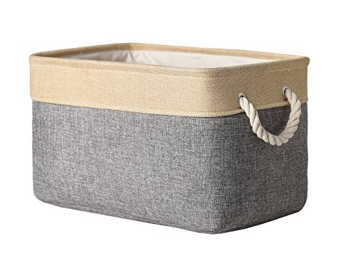 TheWarmHome Collapsible Rectangular Fabric Storage Bin Organizer Basket with Handles for Clothes Storage,Toy Organizer,Pet Toy Storing,Grey (Canvas Storage Bins compare prices)