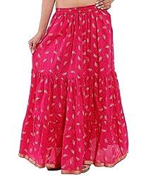 Rangsthali Cotton Gold printed Tired Design long Skirt For Women