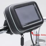ChargerCity 5-Inch Water Resistant GPS Case Bicycle/Motorcycle Handle Bar Mount with Security Screw Bundle with Micro SD Memory Card Reader