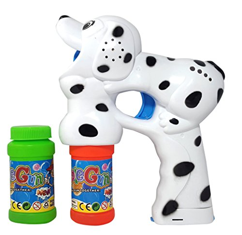 Haktoys Dalmatian Dog Bubble Shooter Gun with Light, Music & Barking Sound, 3 x AA Batteries, and Extra Bottle